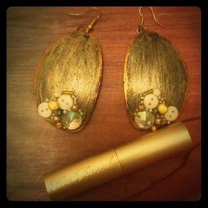 Handmade Unique Boho upcycle Gold Dangle Earrings
